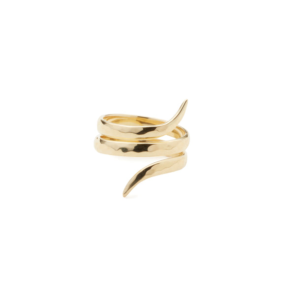 classic hammered coil ring in 24 karat gold vermeil