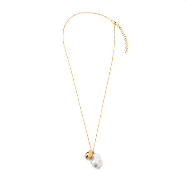 necklace with freshwater pearl pendant and organically-shaped gold vermeil charm
