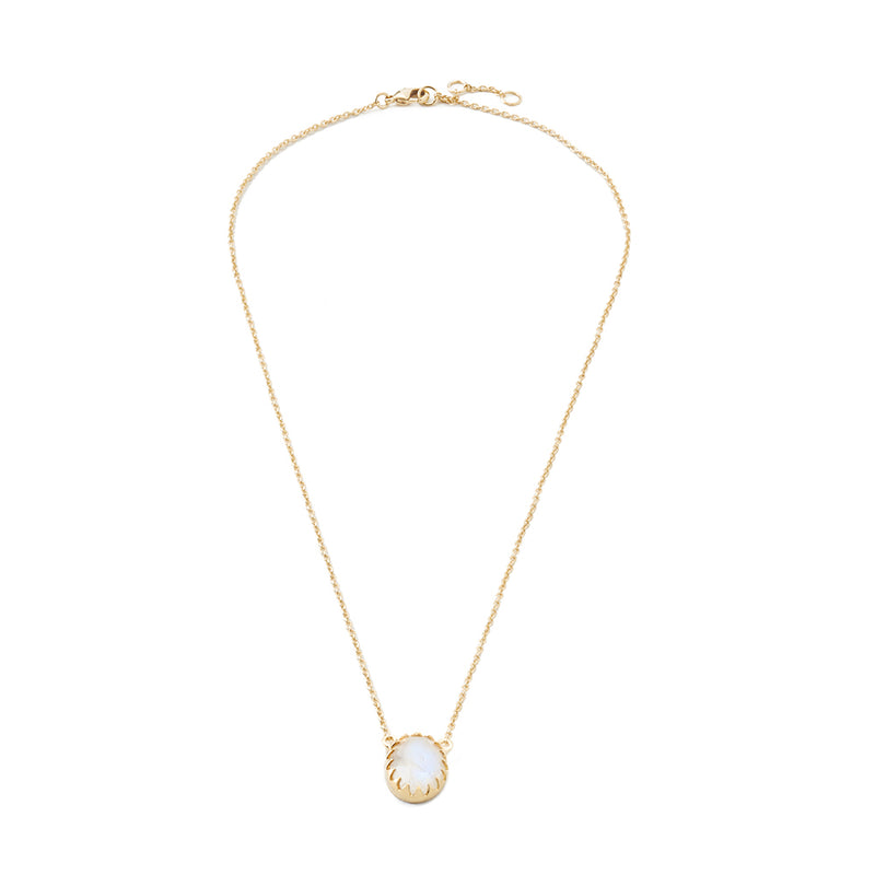 Luxe Bezel Drop Necklace Moonstone