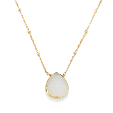 Bezel Necklace White Druzy