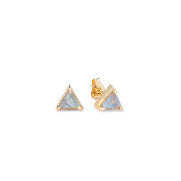 miniature studs in a triangle shape in labradorite