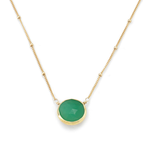Bezel Necklace Chrysoprase