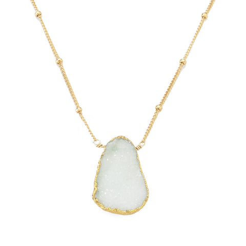 Bezel Necklace Aqua Druzy
