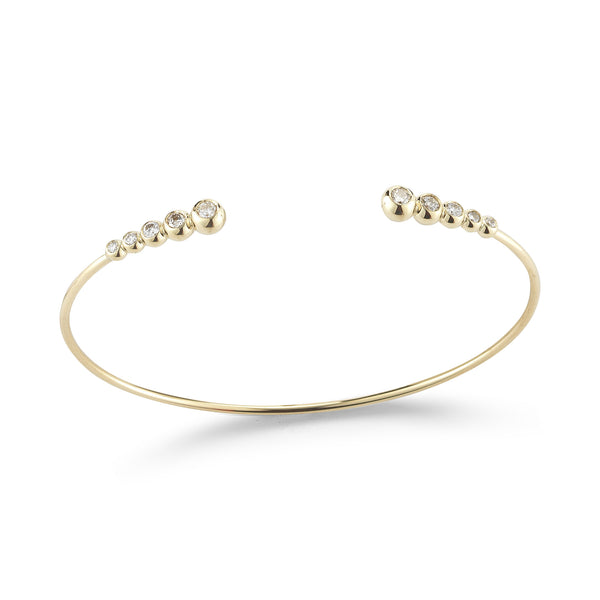 14k Gold Cuff with 5-Diamond End Caps