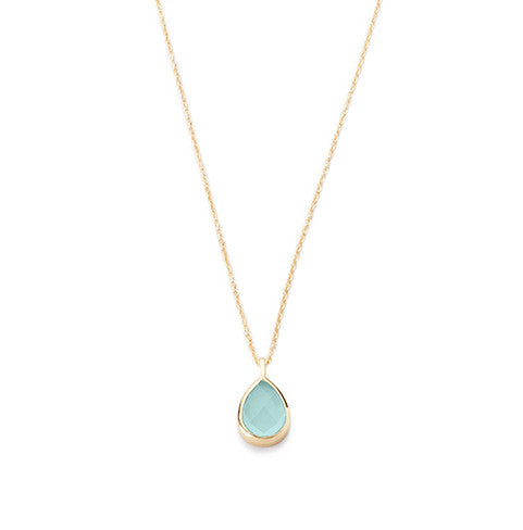 Teardrop Pendant Necklace Aqua Chalcedony