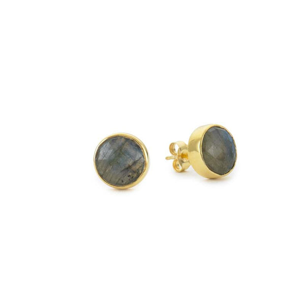 round mini stud earrings in labradorite