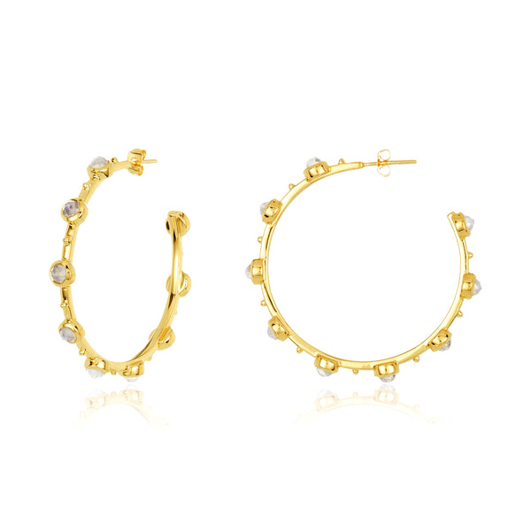 Hoop earrings with round bezel-set moonstones