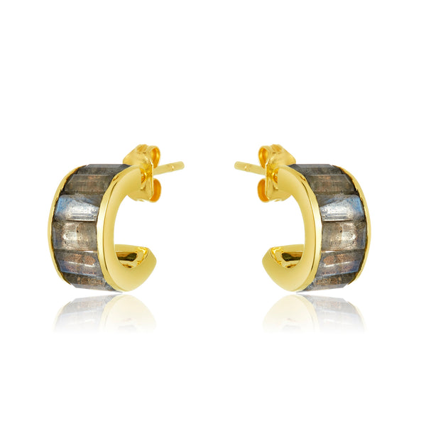 Channel set ear huggies with baguette-cut labradorite stones