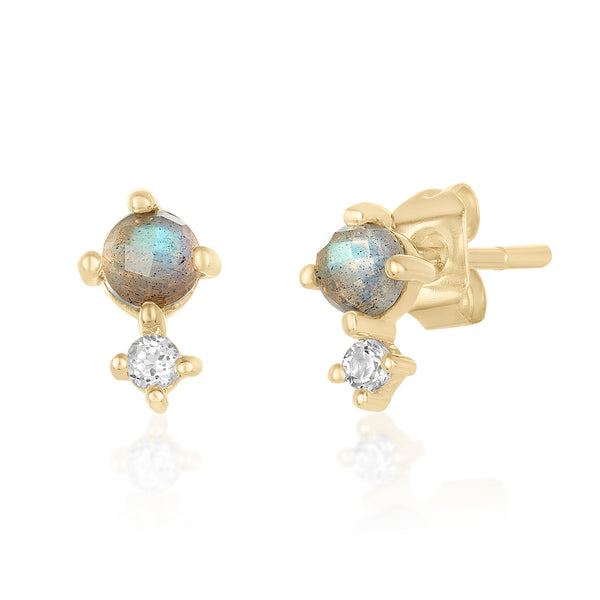 Dainty mini studs in labradorite and white topaz