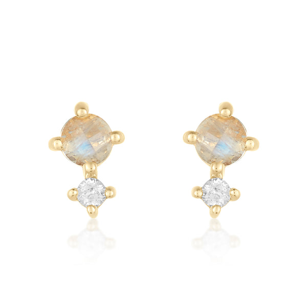 Dainty mini studs in moonstone and white topaz
