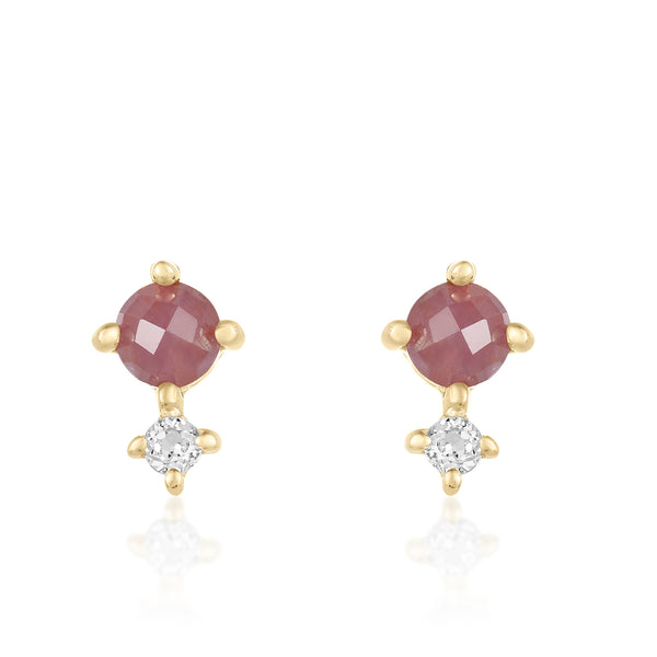 Dainty mini studs in ruby and white topaz