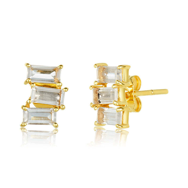 Mini Studs with a trio of baguette-cut white topaz stones