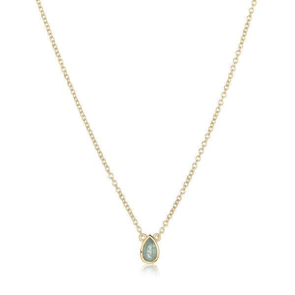 dainty pendant made of 24 karat gold fill and aquamarine