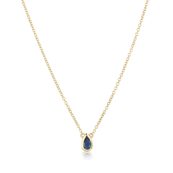 dainty pendant made of 24 karat gold fill and blue sapphire