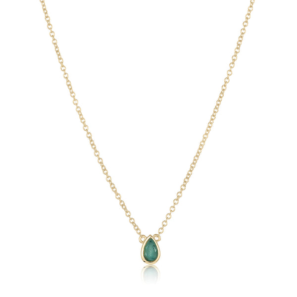 dainty pendant made of 24 karat gold fill and emerald