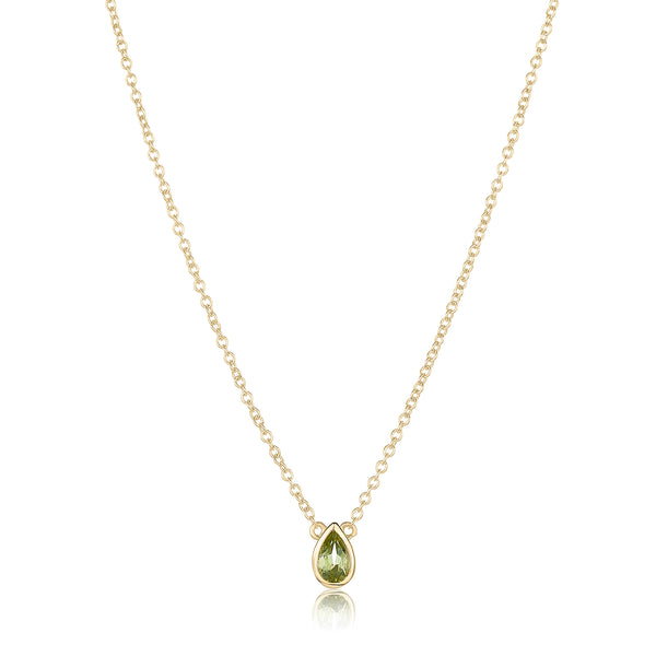 dainty pendant made of 24 karat gold fill and peridot