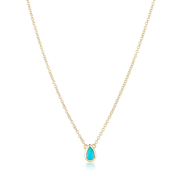 dainty pendant made of 24 karat gold fill and turquoise