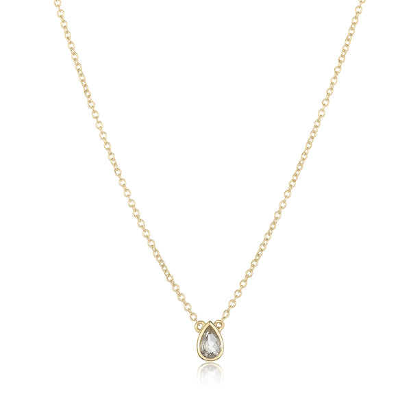 dainty pendant made of 24 karat gold fill and white topaz