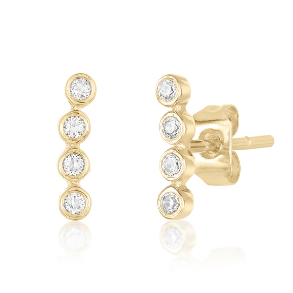 Mini Studs with a line of small round white topaz stones