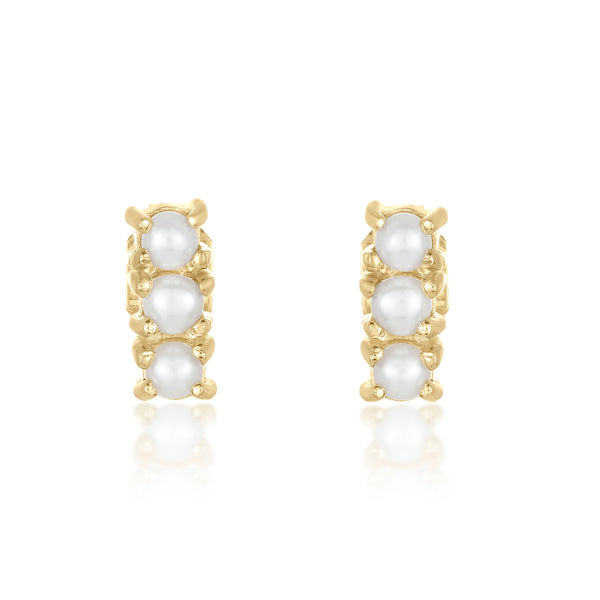 Dainty mini studs with a trio of freshwater pearls