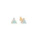 Mini Triangle Studs Aqua Chalcedony