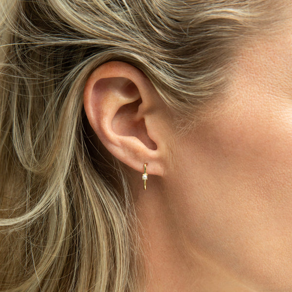 Delicate ear huggies with a freshwater pearl