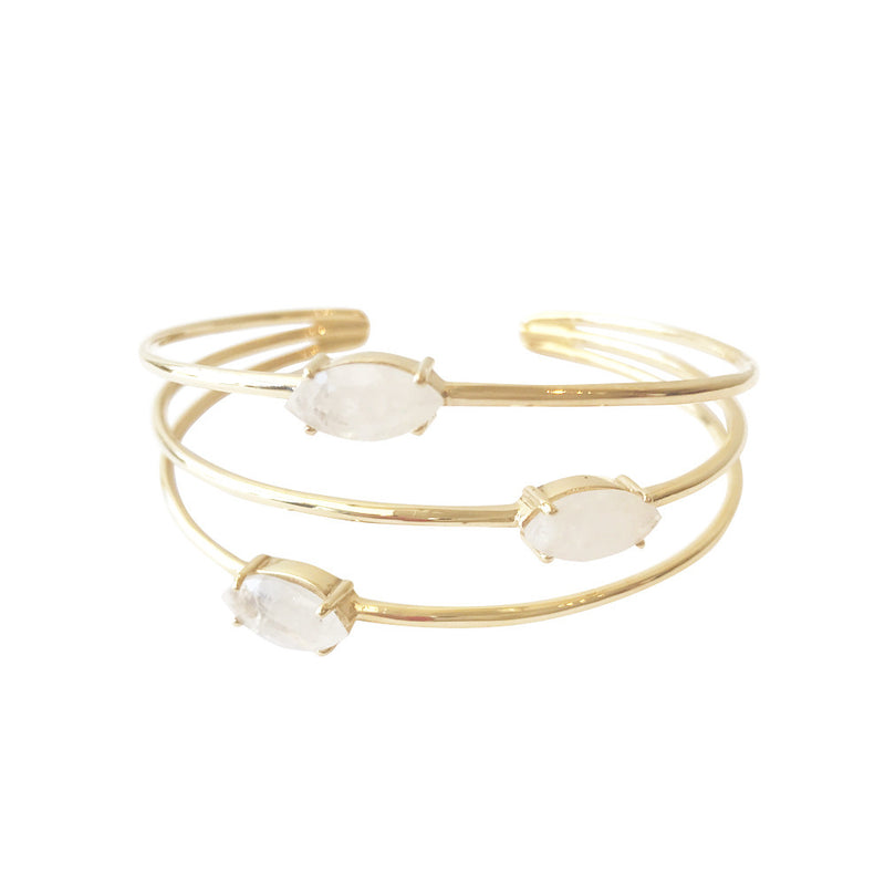 cuff bracelet with three moonstones in 24 karat gold vermeil