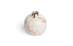 Round Marbled Bud Vase - Marbled Multicolor with Gold Rim