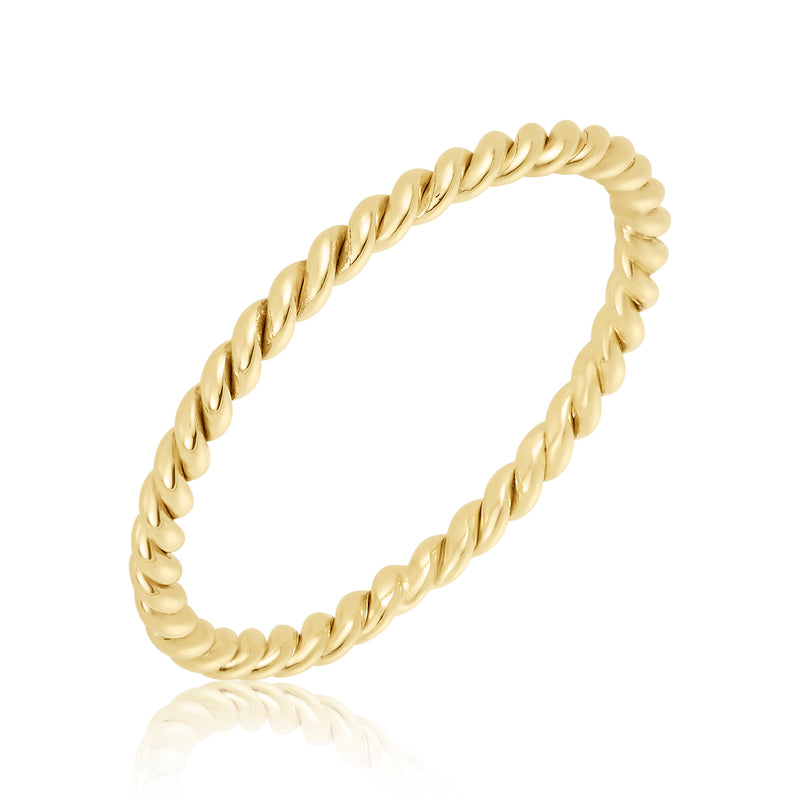 Delicate gold fill ring with twist motif