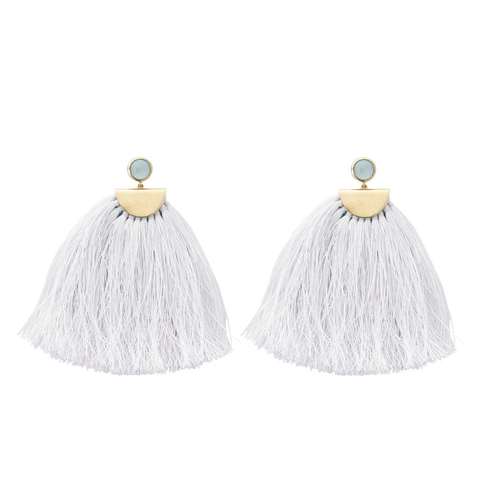 Avery Tassel Earrings Aqua Chalcedony & White