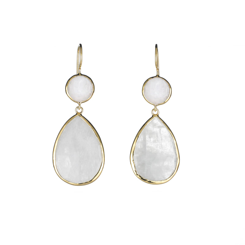 Two stone drop earrings in moonstone