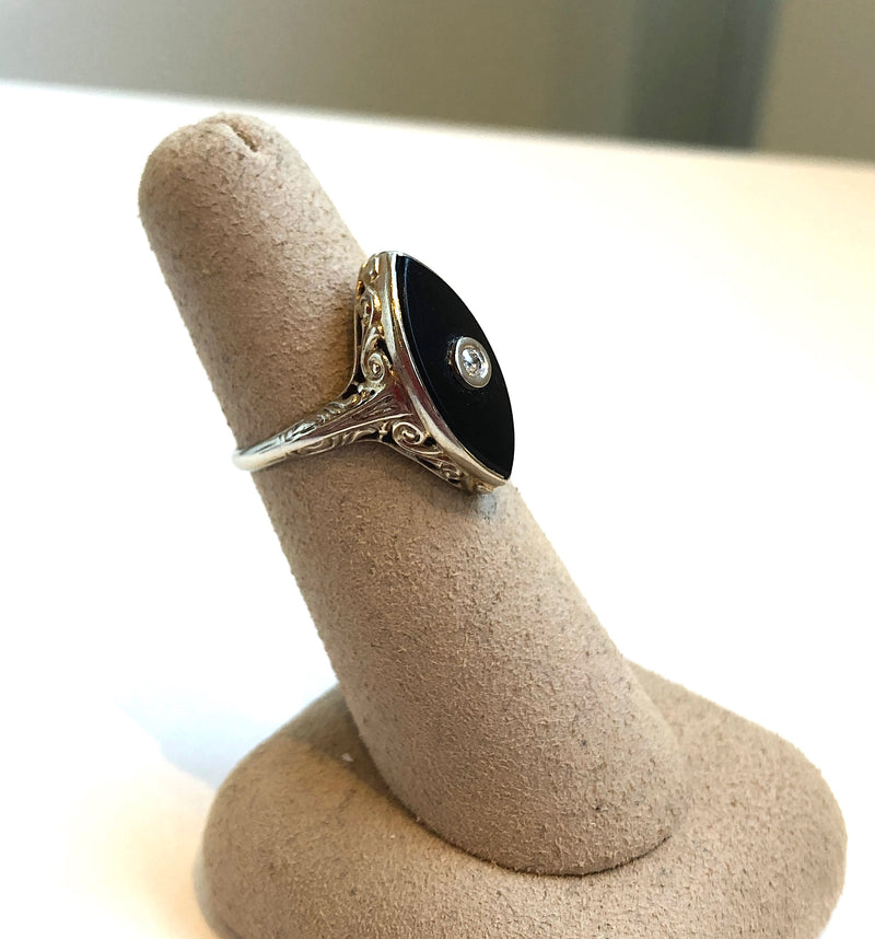 Black Onyx Deco Marquis Ring