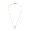 Luxe Bezel Drop Necklace Aqua Chalcedony