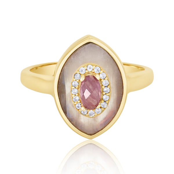 "Ring with a double-pointed oval ""eye"" motif; center pink ruby stone with white topaz trim and moonstone flange."
