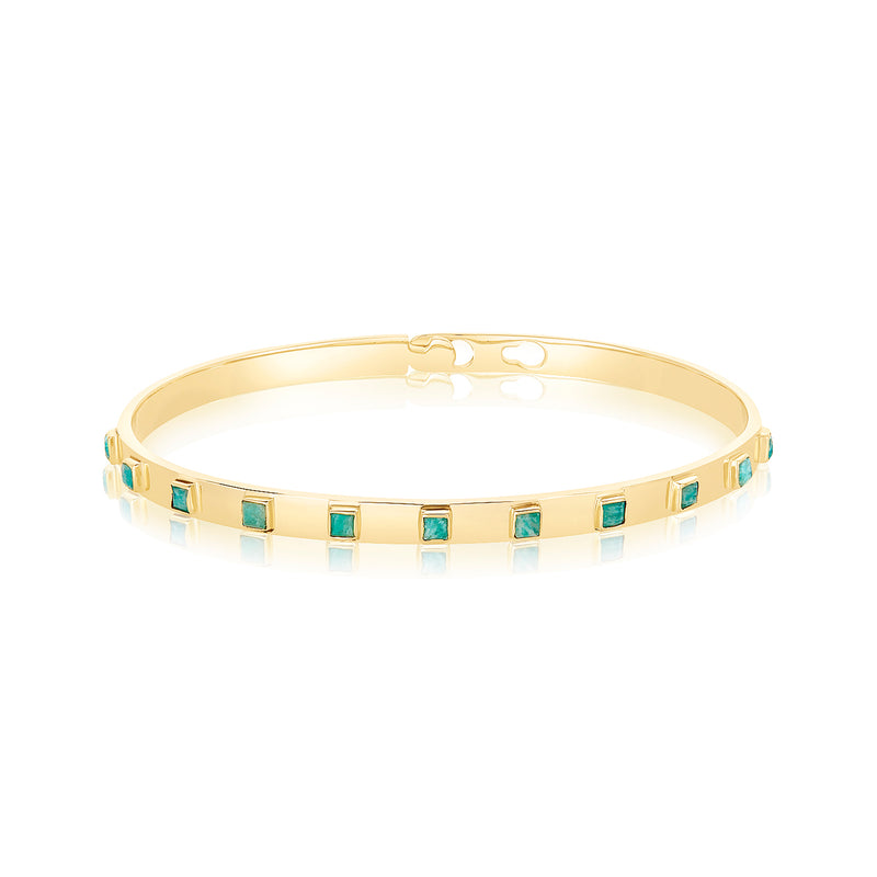 Cuff bracelet with eleven square-cut amazonite stones