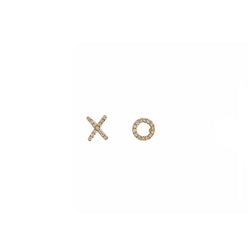 mini X O studs in yellow gold and diamonds