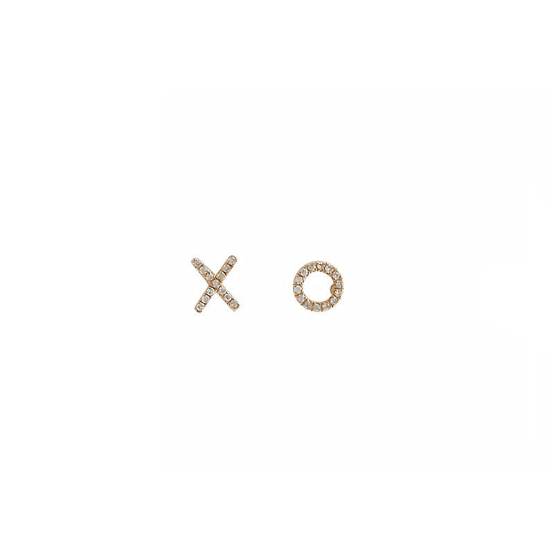 Mini XO Diamond Studs - Yellow Gold