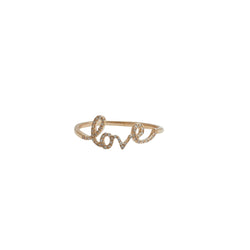 love ring with diamonds and 14 karat yellow gold