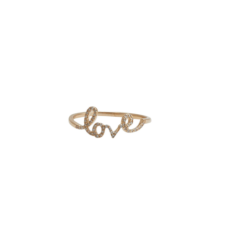 love ring with diamonds and 14 karat rose gold