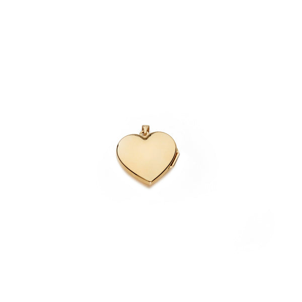 classic heart locket charm in 14 karat yellow gold