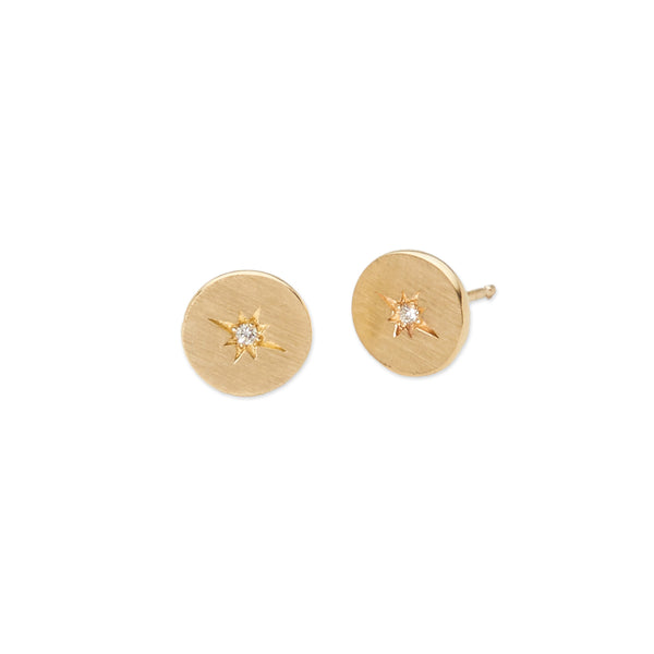 small round 14 karat yellow gold stud earrings with gypsy set diamonds