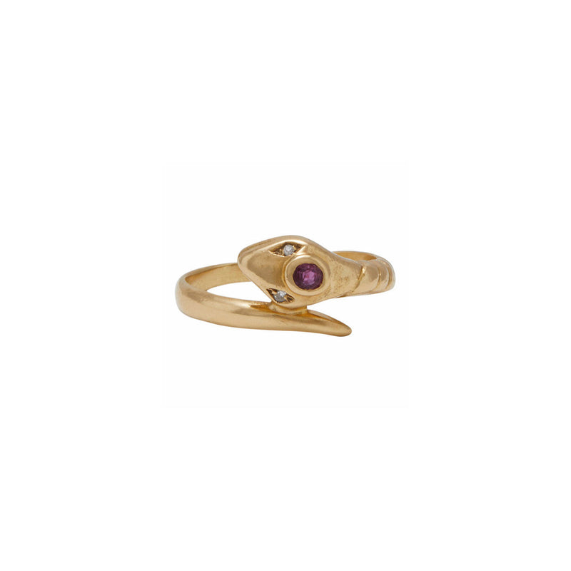 Ruby Diamond Snake Ring