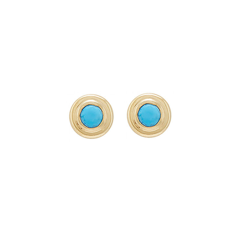 petite bezel-set stud earrings with turquoise