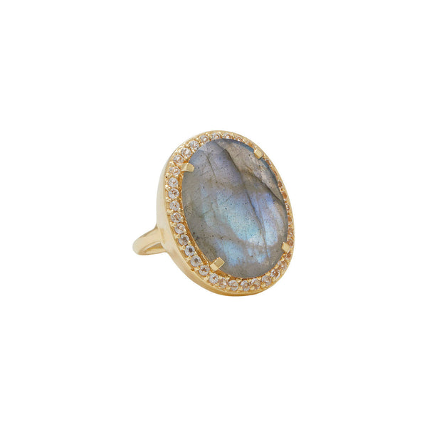 statement cocktail ring in labradorite with white topaz