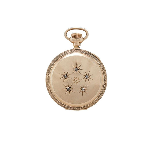 victorian-era pocket watch in 14 karat gold and diamonds