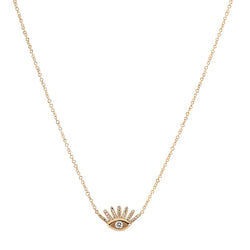 Diamond Pavé and Solitaire Evil Eye Necklace