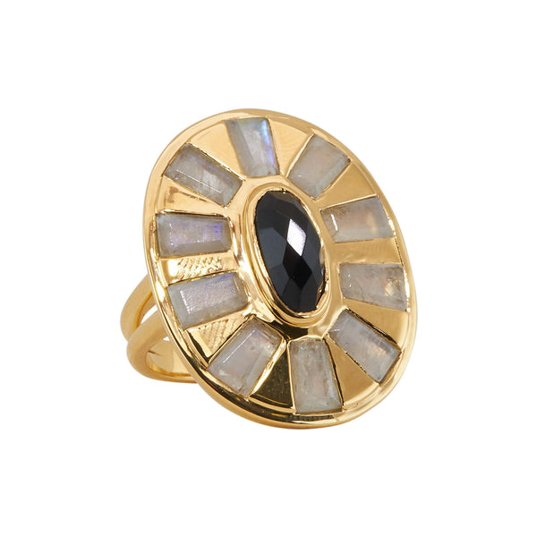 gold vermeil ring in onyx and moonstone