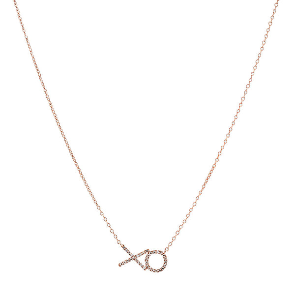 14k Rose Gold XO Necklace