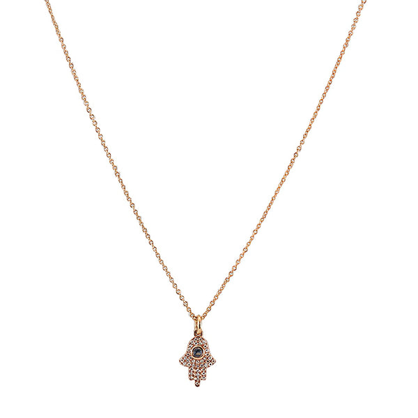 14k Rose Gold Diamond and Sapphire Hamsa Necklace