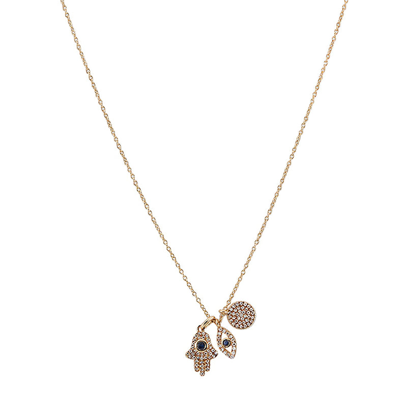 Diamond Sapphire Evil Eye Hamsa Trio Necklace